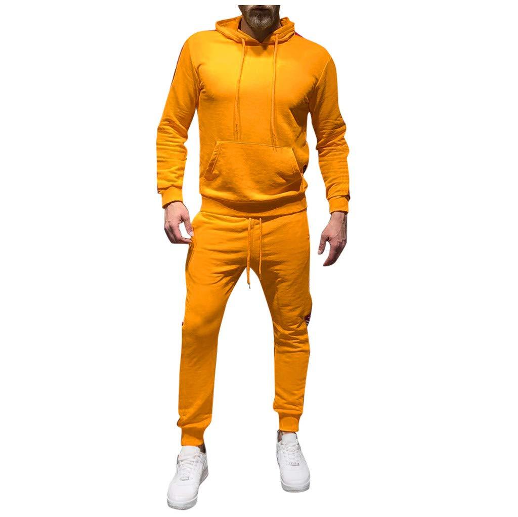 Men's Sports Casual Tracksuit Set - Jogger Sweatpants Patchwork Warm Running Suit Sweatshirt (L, Yellow) by Moxiu Men's Sports Suit