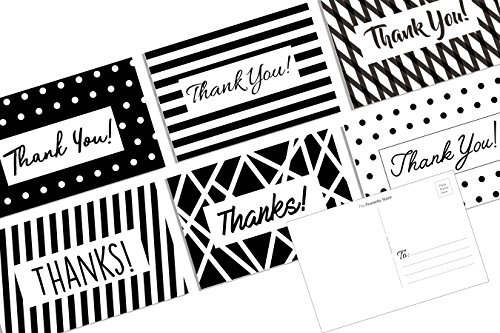 (Thank You POSTCARDS (36 Pack) Set Assortment 6 Unique Polka Dot Stripes Geometrical Designs Note Card Patterns