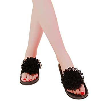4a3f093034c0 Familizo Women Solid Color Flower Round Toe Flat Heel Sandals Ladies Summer  Casual Beach