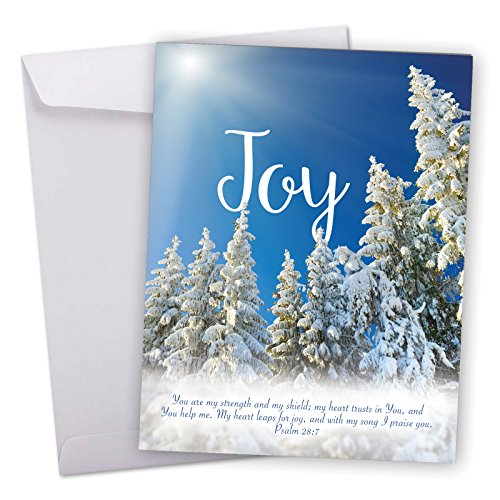 11' Landscape (J6661HXSG Jumbo Merry Christmas Greeting Card: Holiday Devotions, Featuring a Religious Sentiment Superimposed Over a Snowy Landscape Scene With Envelope (Giant Size: 8.5