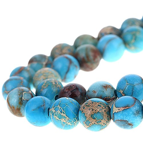 - Bingcute 8mm Genuine Sea Sediment Jasper Round Gemstone Imperial Jasper Beads Jewelry Making Loose Beads