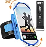Sports Running Armband for iPhone XR, XS Max, 8, 8 Plus, 7, 6, Samsung Galaxy A8, S9, S8, S6 Edge, Note, LG; 360° Rotatable Cell Phone Arm Holder for Men & Women with Free Extender Strap (Blue)