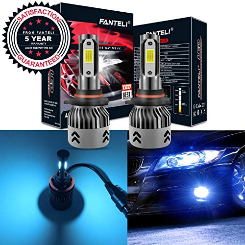 FANTELI 9005 (HB3) 8000K Ice Blue LED Headlight Bulbs All-in-One Conversion High Beam Kit - 72W 8000LM 9145/9140/H10 Fog Driving Lights Extremely Bright