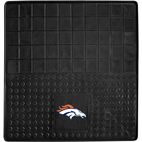 DH 31 X 31 Inches NFL Broncos Cargo Mat, Football Themed Car Flatbed Trunk Vinyl Square Trunk Carpet Sports Patterned, Team Logo Fan Merchandise Athletic Team Spirit, Orange White Black by DH
