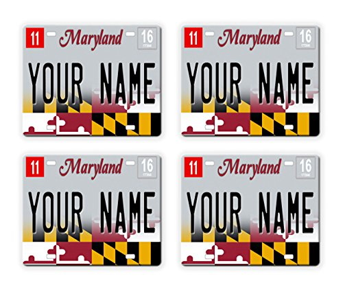 BleuReign(TM) Personalized Custom Name 2017 Maryland State License Plate Set of 4 Square ()