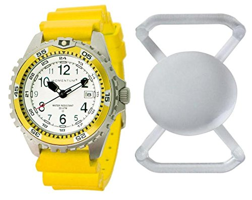 New St. Moritz Momentum M1 Twist Womens Dive Watch with Yellow Bezel, Yellow Hyper Rubber Band & FREE Watch Protector