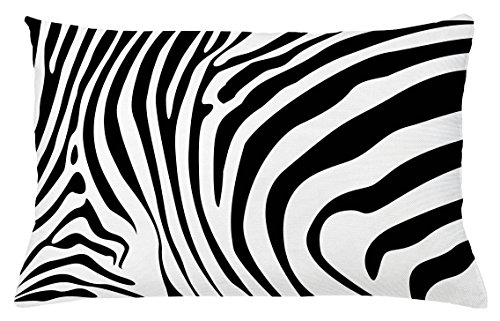 Zebra Print Accent Chair (Lunarable Zebra Print Throw Pillow Cushion Cover, Animal Skin Pattern Nature and Desert Life Theme Simplistic Illustration, Decorative Accent Pillow Case, 26 W X 16 L Inches, Black and White)