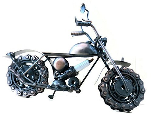 Steampunk Metal Motorcycle Sculpture Road King Model with Steampunk Sparkplug - Recycled Collectible Art Handmade 10.5
