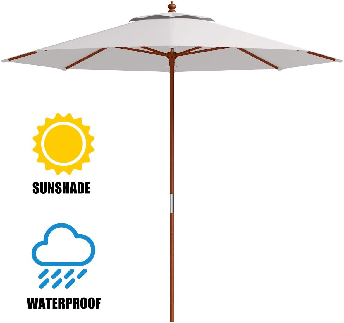 Tangkula 9 ft Patio Umbrella, Wooden 1.5 Inch Pole Height Adjustable with 8 Ribs Table Umbrella, Outdoor Garden Lawn Deck Market Caf Sunshade