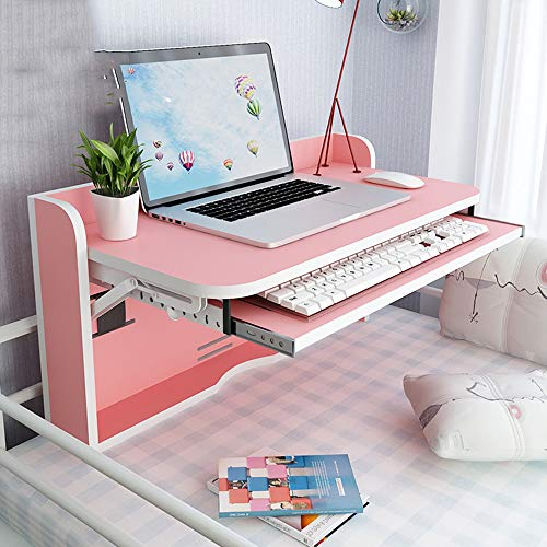 Tables YNN Bedside Multifunction Writing Desk Fold Wall-Mounted Drop-Leaf Small Bunk Beds Dormitory Artifact Lazy Desk (Color : Pink)