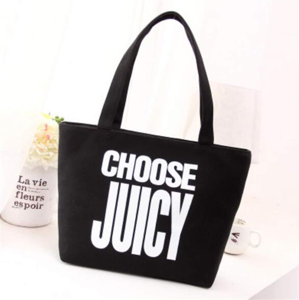 WHXYAA Black Canvas Bag Shoulder Bag Tote Bag Ladies Large-Capacity Shopping Bag Simple Atmosphere