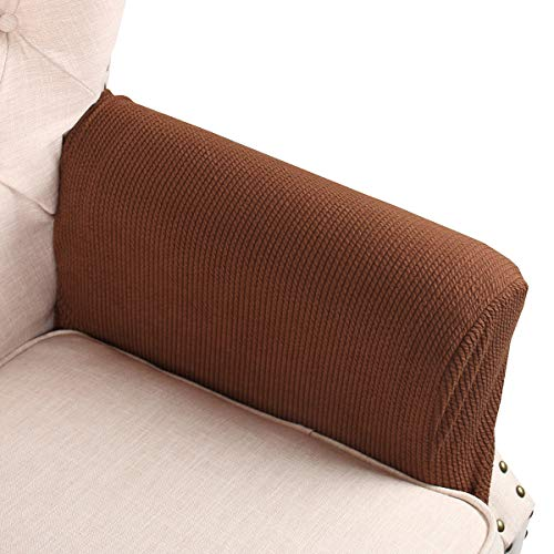 FlyingBean Stretch Couch Armrest Covers for Both Fabric and Leather Chair/Loveseat/Sofa/Recliner, Set of 2 with Adjustable (Set Sofa Loveseat Recliner Chair)