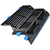 Oria 4 in 1 PS4 Vertical Stand Cooling Fan, Dual Charging Station for Playstation with 14 Slot Game Disc Storage + 2 HUB & 1 USB Ports