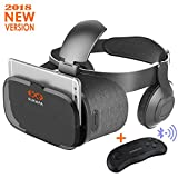 Sukapa Oasis 3D VR Headset With Remote Controller Virtual Reality Glasses with Stereo Headphone for VR Games 3D Movies Smartphones HD Blue Glass Lens Eye Care System for iPhone and Android Smartphones
