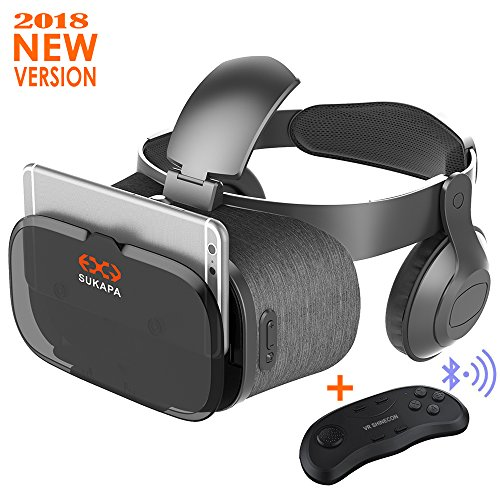 Sukapa Oasis 3D VR Headset With Remote Controller Virtual Reality Glasses with Stereo Headphone for VR Games 3D Movies Smartphones HD Blue Glass Lens Eye Care System