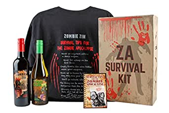 Zombie Survival Kit Gift Set with NV California Zinfandel Red Wine & Chardonnay White Wine Mixed Pack 2 x 750 mL, Men's Size Large Zombie Apocalypse T-Shirt, & Zombie Survival Tips Booklet by WJ Lundy