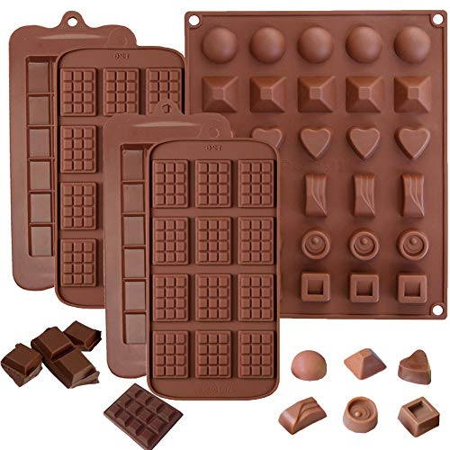 (5 Pack Chocolate Bar Molds,Ausplua Silicone Chocolate mold Candy Jelly Cake Baking Mould,Break-Apart Chocolate, Food Grade Non-Stick Silicone Protein and Energy Bar Molds)