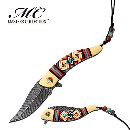 8.5 Native American Indian Spring Assisted Open Pocket Knife Damascus White FEATHER - Firefighter Rescue Pocket Knife - Hunting Knives, Military Surplus - Survival and Camping Gear