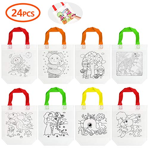 Diy Halloween Tote Bags (Cieovo 24 PCS DIY Colorful Graffiti Party Goodie Bags, Party Tote Bag for Halloween Candy Bags,Christmas Bag, Donate Bags,Festive Gifts, Birthday Gifts, Art Theme)