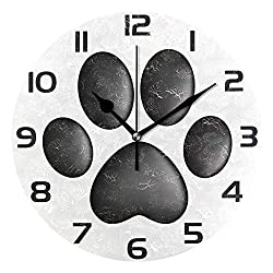 ALAZA Black Cute Dog Paw Round Acrylic Wall Clock, Silent Non Ticking Oil Painting Home Office School Decorative Clock Art