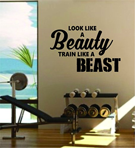 Look Beauty Train Beast v2 Quote Fitness Health Work Out Gym Decal Sticker Wall Vinyl Art Wall Room Decor Weights Motivation Inspirational by Boop Decals