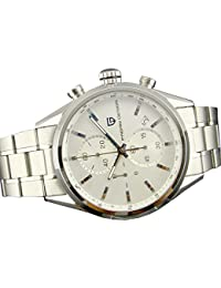43mm Stainless Steel Case Japanese Quartz Movement Multifunctional Mens Watch With White Dial White Marks Top