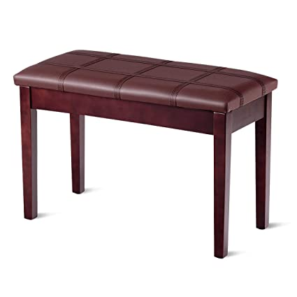 Giantex Wooden Duet Piano Bench With Padded Cushion And Music Storage Pu Leather Keyboard Seat Piano Stool With Solid Locking Hinge And Anti Slip