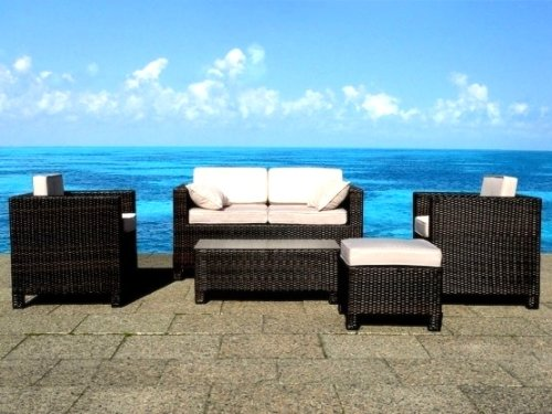 OUTDOOR PATIO FURNITURE RESIN RATTAN WICKER GARDEN SOFA SET by BELIANI - MILANO