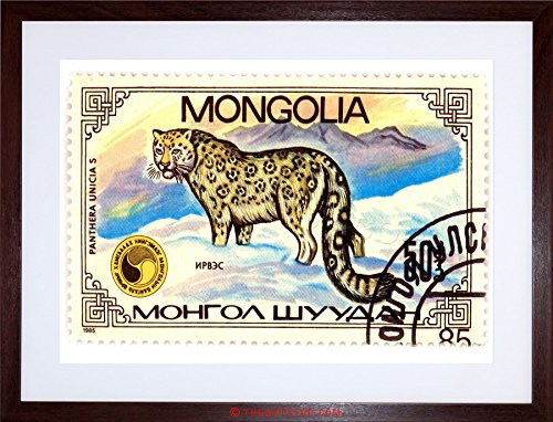 The Art Stop Postage Stamp Panthera Snow Leopard Mongolia Vintage Framed Print F12X5786