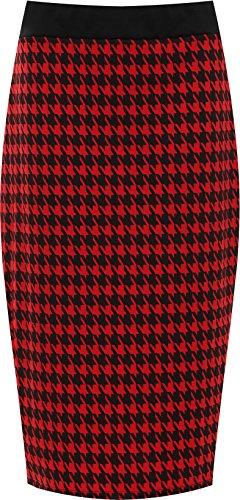 WearAll - Jupe droite avec imprim 'dogtooth' et une fente au dos - Jupes - Femmes - Grandes tailles 40  54 Rouge