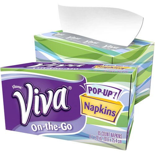 Viva Napkins On-The-Go 65 Count (Pack of 8) (Popup Napkin)