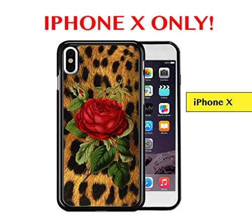 IPHONE X - Leopard Animal Cheetah Print Skin Red Vintage Rose Apple iPhone X, 5.8 inch Rubber TPU Silicone Phone Case - FITS IPHONE X ONLY