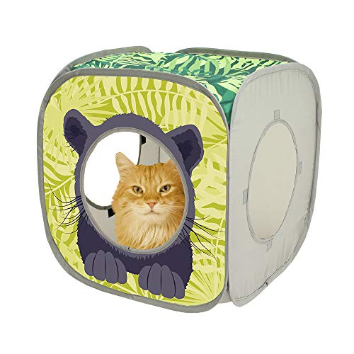 Kitty City Jungle Cat Cube Combo, Collapsible Cat Cube, Cat Bed, Tunnel, Cat Toys 7