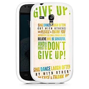 Silicona Carcasa blanco Funda para Samsung Galaxy S3 Mini - Don't give up