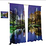 WinfreyDecor City Decorative Curtains for Living Room North Carolina Marshall Park United States American Night Reflections on Lake Photo Room Darkening Wide Curtains W108 x L96 Multicolor.jpg
