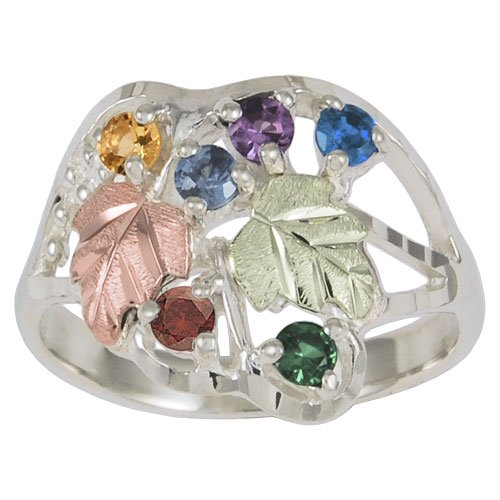 Black Hills Mothers Birthstone Ring in Sterling Silver Customizable with 1,2,3,4,5,6 or 7 Genuine 2.5MM Birthstones