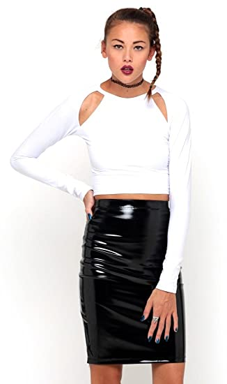 SilverStitch Celebrity Falda de Fiesta de Vinilo para Mujer de PVC ...