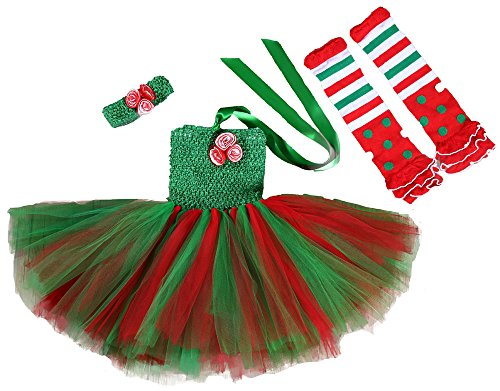 [Tutu Dreams Baby Girl Red and Green Tutu Dresses 3PCS Set] (Holiday Ballet Costumes)