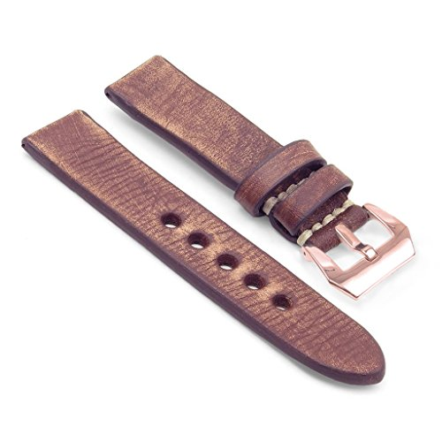 StrapsCo Thick Distressed Vintage Leather Watch Band w/ Rose Gold