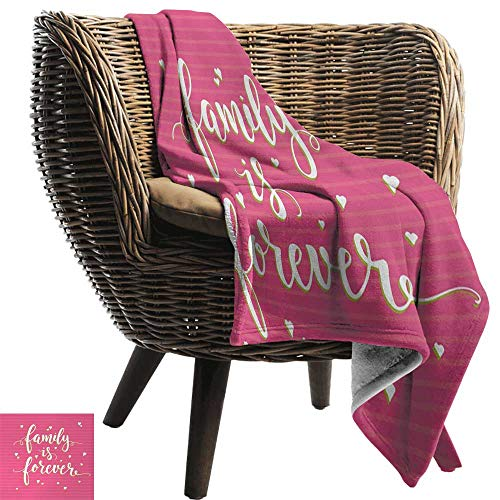 AndyTours Flannel Throw Blanket,Family,Hand Drawn Typography Poster Style Family Love Calligraphy Vintage,Hot Pink Green Light Yellow,for Bed & Couch Sofa Easy Care 60