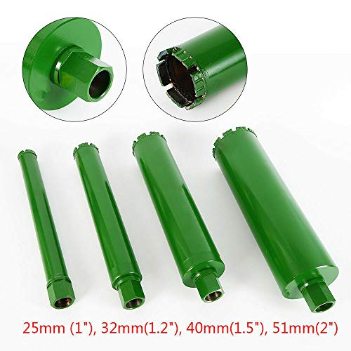 4Pcs Wet Diamond Core Drill Bit, for Concrete-Premium Green Series 1″,1.2″,1.5″, 2″