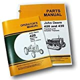 John Deere 420w 420 Row Crop Utility Tractor Operators Owners Manual and Parts Catalog Set with Instructions for Operating Maintenance and Adjustments Parts Names Numbers Exploded Views for Assembly