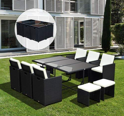 Tidyard 11 Piece Outdoor Dining Set Black Poly Rattan Wicker Tempered Glass Top Dining Table With 6 Chairs And 6 Footstools Cushioned Sectional Conversation Set Patio Garden Furniture Beachfront Decor