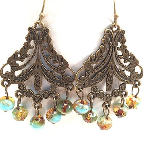 Antiqued Brass Art Deco Chandelier Earrings