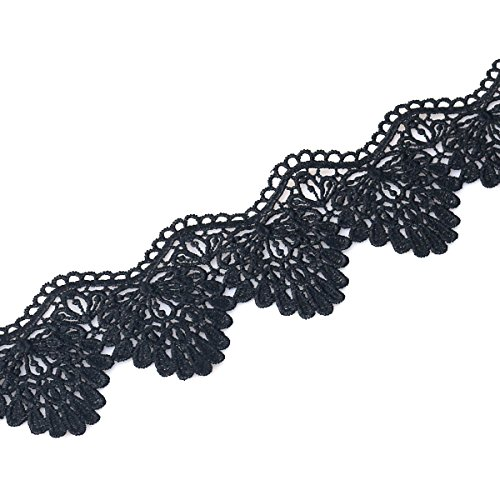 yester Eyelet Wave Lace Ribbon Embroidered Appliquer DIY Sewing Craft, 3 Yard (Black Wave) (Embroidered Lace Trim)