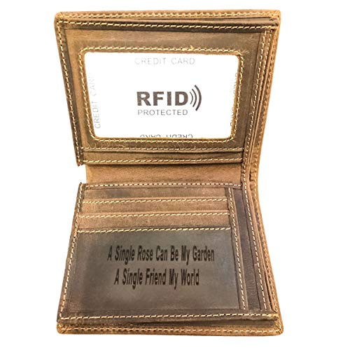 Personalized Genuine Leather - Personalized Mens Genuine Leather Wallet RFID Blocking Slim Bifold Customized Wallet With ID Window for Men (Brown Vertical (Custom Design), Medium)