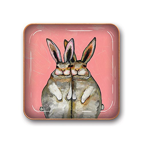 (Studio Oh! Small Metal Catchall Tray Available in 12 Different Designs, Eli Halpin Bunny Friends)