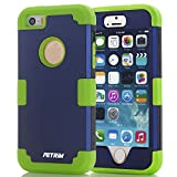 case for iPhone 5S ,Fetrim 3 Layer Shockproof Drop Proof High Impact Armor Silicone Case Protective Cover for Apple iPhone 5 5S SE (Blue + Green)
