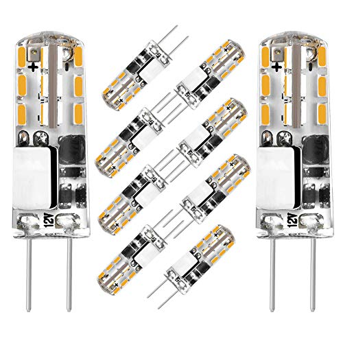 G4 Dimmable LED Bulb No Flicker Mini 2 Watt G4 Bulb Equivalent to 10W T3 Halogen Track Bulb, AC/DC 12V Warm White 2700K-3000K G4 Bi-pin LED Light Bulb for Landscape, RV, Home Lighting (10 Pack) ()
