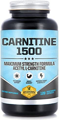 Carnitine 1500 - Acetyl L-Carnitine 1500mg Maximum Strength Carnitine Supplement - Supports Energy, Memory, Focus and Weight Loss Management by Vitamorph Labs - 120 Vegetarian Capsules